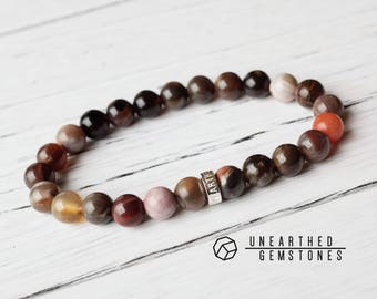 Mens Bracelet - Fossil Wood Bracelet, Beaded Bracelet for Men, Petrified Wood, Boho Jewelry, Mens Jewelry, Gift Idea