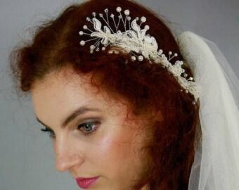 ON SALE Babies breath vine , Wedding Hairpiece , Bridal Headpiece, Wedding Hair  comb ,Bridal hair vine ,Lace headpiece- CLARA