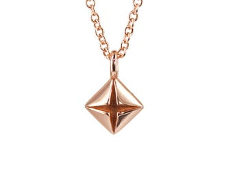 Origami 14K Rose Gold 925 Silver Necklace