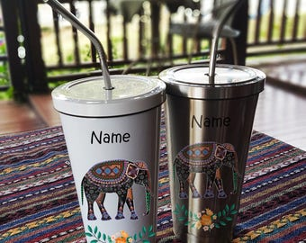 The Elephant Stainless Steel Tumbler 16 OZ with Straw, Stainless Tumbler with Custom Name, Stainless Steel Travel Mug
