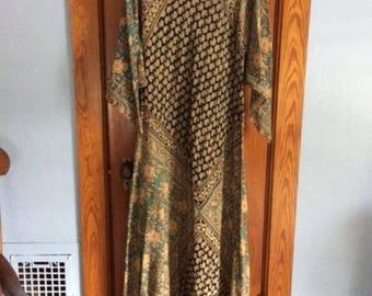 Vintage Maxi India Dress Block Print