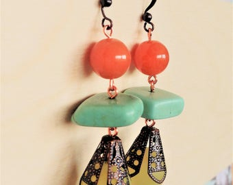 Dangly Glass & Turquoise Copper Earrings