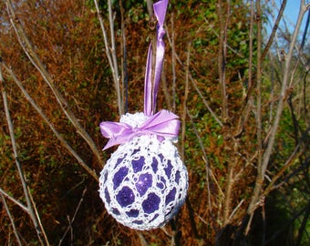 Retro Crochet irish lace bauble -Glitter Purple