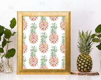 Pineapple with Florals - PRINTABLE Wall Art / Floral Pineapple Wall Printable / Pineapple with Floral Overlay | Pineapple Art / 2 for 1 Art