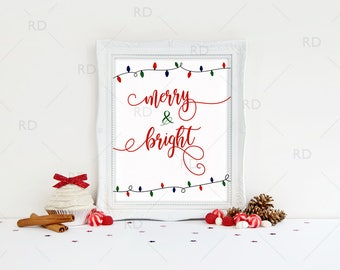 Merry and Bright PRINTABLE - holiday art / Christmas art / Xmas / Christmas Printable / Merry & Bright / Christmas Lights Bulbs / Red Green