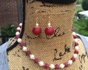 Set Garnet red pearl necklace beaded necklace Bohemian necklace boho necklace garnet gold jewelry  Custom Game Day college colors 16 inch