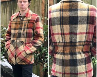 Plaid Wool Men's Coat / Field Jacket Vintage 70s Mackinaw