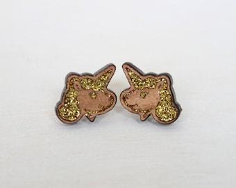Wooden Glitter Earrings