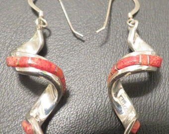 Coral Corkscrew Zuni Earrings