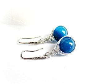 Wire wrapped earrings blue stones drop earrings agate wire earrings italian jewelry steel wire wrapped earrings stones gift for her