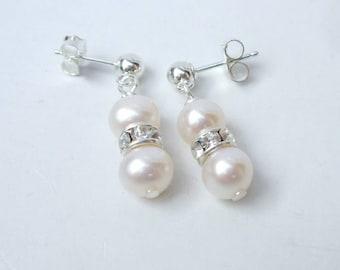 Freshwater pearl drop bridal earrings Sterling Silver stud pearl drop and diamante earrings double pearl earrings pearl wedding jewellery