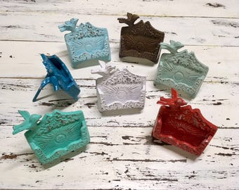Shabby Chic Business Card Holder-25 Colors/Shabby Chic/Cast Iron Business Card Holder/Vintage/Office/Desk Decor/Gift Idea//Coworker/Boss