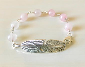 Feather Guardian Angel Wing Rose Quartz Beaded Inspirational Bracelet
