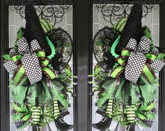Double Door Swags, Halloween Door Swag, Halloween Wreath, Fall Wreath, Door Hanger, Front Door Wreath, Whimsical Decoration, Large Wreath