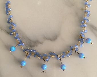 Handmade in California- Necklace with Periwinkle crystals and  lab created Opals.
