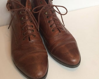Brown Ankle Boots, Size 9, Leather