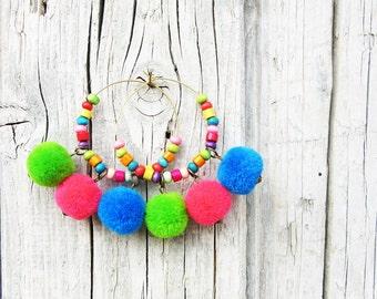 Pom Pom Earrings, Colorful Earrings, Gypsy Earrings, Bohemian Earrings, Pom Pom Dangle Earrings, Wooden Earrings