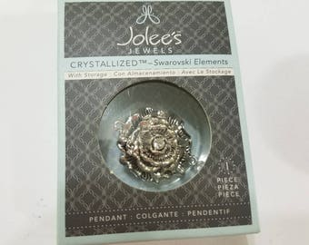 Swarovski, Crystal, Jolee's Jewels, Silver, Rose, Flower, Floral, Connector, Link, NIB, Pendant, Jewelry, Beading, Supply, Supplies