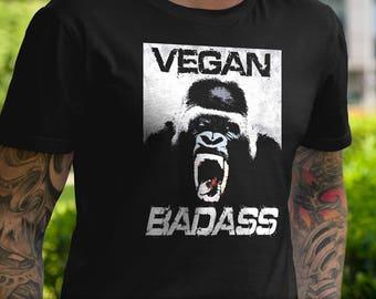 Vegan Badass T-Shirt Ladies Mens Unique Design Gift Fresh Trendy Fitness Animal Rights Gorilla Scream Yell Howl Exercise Beast Tank V-Neck
