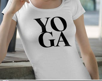 Yoga Letter Box T-Shirt Ladies Mens Unique Design Gift Fresh Trendy Handwritten Simple Exercise Tank V-Neck Breathe Meditate Fitness Stretch
