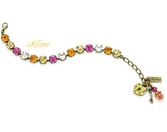 ASTRAL ALLURE 8mm Charm Bracelet Made With Swarovski Crystal *Choose Finish & Size *Karnas Design Studio™ *Free Shipping*