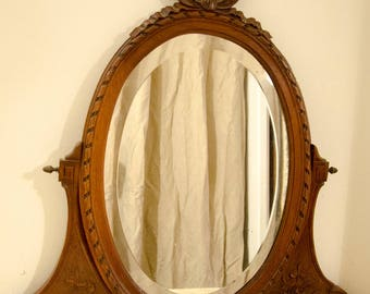 ON order old Dresser vanity style patina LouisXVI mirror old pink bow