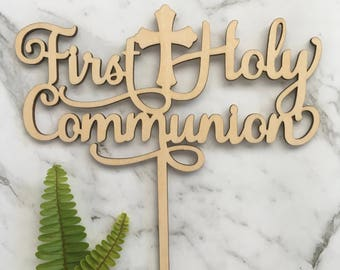 First Holy Communion Rustic Wood Cake Topper