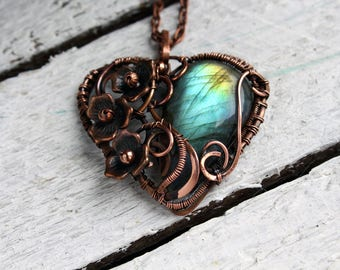 Gem necklace mother gift Heart necklace Wire wrap pendant Copper jewelry Labradorite pendant necklace girlfriend gift Wire wrapped jewelry