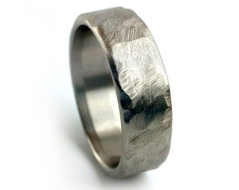 Hammered Titanium Ring, Distressed Titanium Ring, Rustic Jewelry, Women's Wedding Ring, Men's Wedding Ring, Simple Wedding Band, Gray Ring