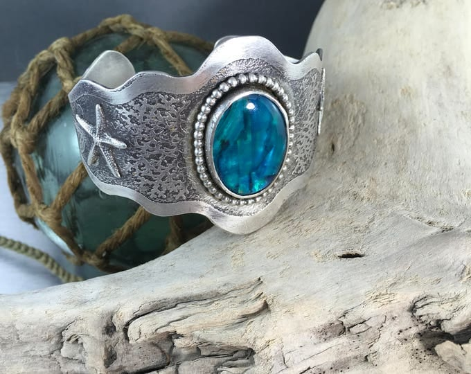Featured listing image: Handmade Sterling Silver Cuff Bracelet with Ocean Starfish Theme and Abalone Shell Focal Stone