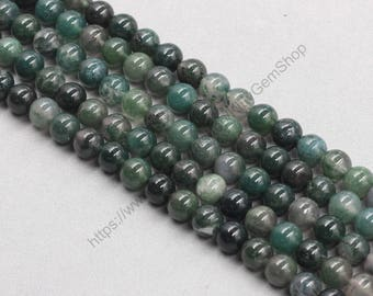 8mm Natural Moss Agate Beads Wholesale Loose Round Ball Bead With Well Ploished Gemstone Natural Stone MHA-174