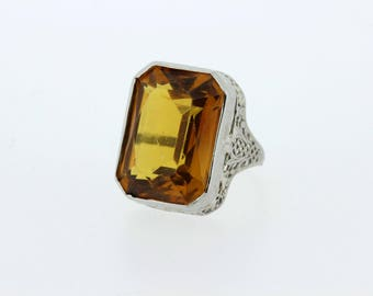 Large Citrine-colored Floral Filigree 14K White Gold Ring