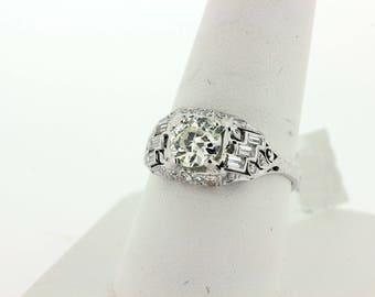 1920s Platinum Diamond Filigree Ring