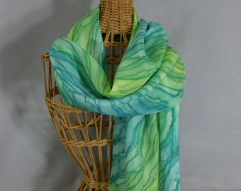 """Silk Scarf """"Spring Green Stripe"""", Hand Painted Silk Scarf, Green Silk Scarf"""