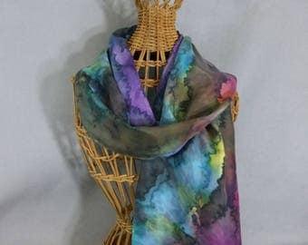 "Silk Scarf ""Cloudy Rainbow"", Hand Painted Silk Scarf"