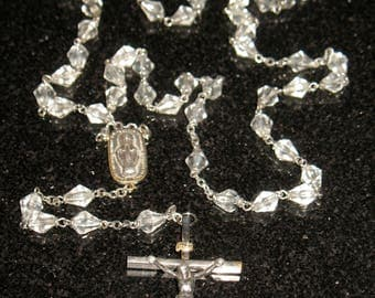Vintage Silver and Faceted Glass Crucifix Long Rosary Beads