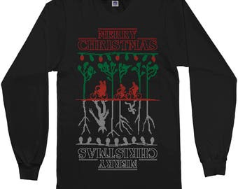 Merry Christmas The Upside Down Stranger Things Ugly Christmas Long Sleeve T-Shirt - Short Sleeve T-Shirt - Tank Top