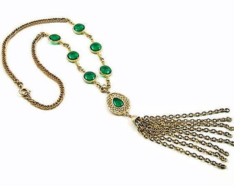 Gold Tassel necklace, Long tassel necklace, tassel pendant , Chain Tassel, egyptian jewellery, Boho tassel necklace, Green cabochon, vintage