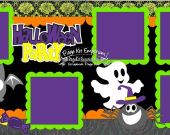 Scrapbook Page Kit Halloween Party Ghost Spider Bat Boy Girl 2 page Scrapbook Layout 008