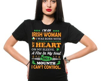 Irish Woman T-Shirt St Patrick's Day Funny Shamrock Clover Shenanigans Irish Drinking Party Pub Shirt