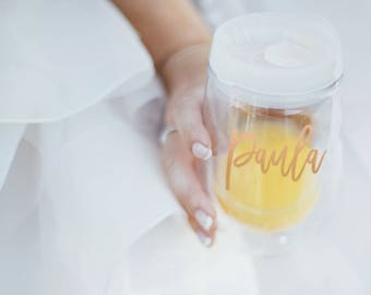 Wine Tumbler Bridesmaid Gift - Gold - Bachelorette Gift -Custom Personalized Monogrammed Tumbler With Lid and Straw