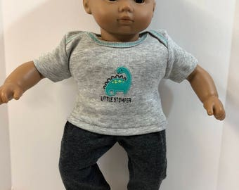 "BOY 15 inch Bitty Baby Clothes, 2-Piece Outfit, Adorable ""LITTLE Stomper DINOSAUR"" Top, Gray Pants, 15 inch American Doll Bitty Boy"