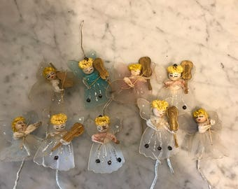Vintage Spun Cotton Christmas Angel Ornaments with Musical Instruments