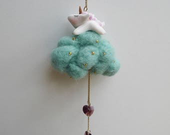 Mobile decorative my little elephant asleep on her cloud in wool and felted heart rain