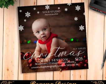 Christmas Mini Session Template - Photography Marketing Board - Christmas Minis - Photoshop Template