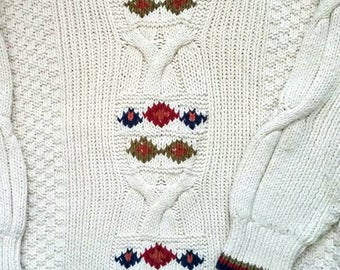 Unisex Hipster Alpine Chunky Cotton Cable Sweater -M- Mens or Ladies Vintage 80s Warm Intarsia Cable Pullover Holiday Winter Cottage Classic