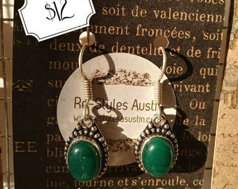 Silver and Green Stone Earrings