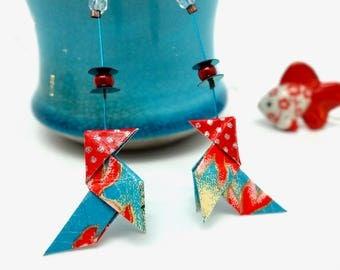 """Cadeau Noël, boucles d'oreilles origami """"les poissons rouges"""", cocottes en papier japonais bleu et rouge, origami earrings, idée cadeau ado"""