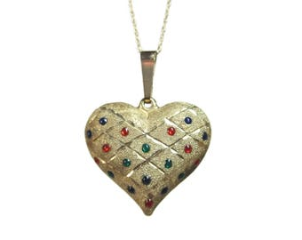 10K Yellow Gold Enamel Heart Pendant Necklace