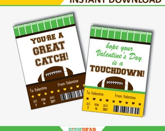 Football Valentines Day Cards, Football Valentine Cards, Football Valentine for Boys, Football Valentines Printables (Instant Download)
